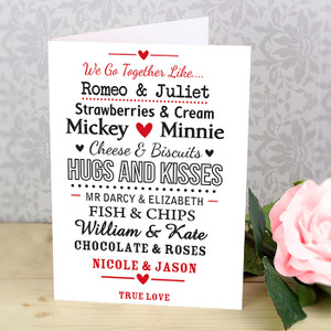 Personalised Couples Card From Something Personal