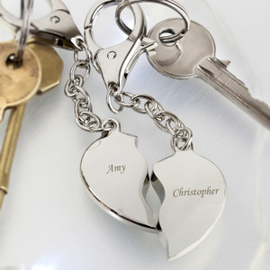 Personalised Engraved Two Hearts Keyring From Something Personal
