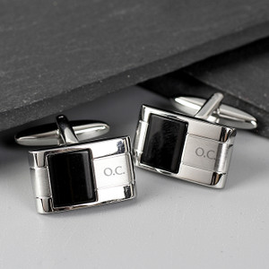 Personalised Engraved Onyx Cufflinks From Something Personal