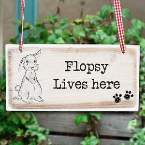 Personalised Rabbit Wooden Sign From Something Personal