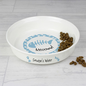 Personalised Blue Cat Bowl From Something Personal