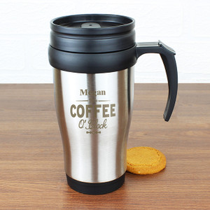 Personalised Coffee O'Clock Travel Mug From Something Personal
