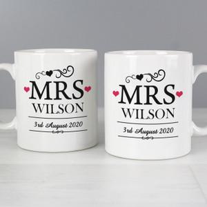 Personalised Mrs & Mrs Mug Set From Something Personal