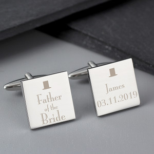 Personalised Father of the Bride Square Cufflinks From Something Personal
