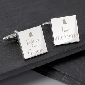 Personalised Father of the Groom Square Cufflinks From Something Personal