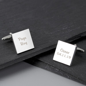 Personalised Wedding Role Square Cufflinks - 2 Line From Something Personal