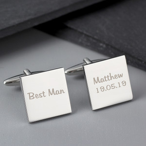 Personalised Wedding Role Square Cufflinks - 1 Line From Something Personal