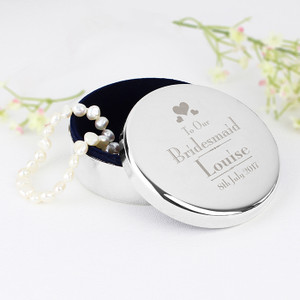 Personalised Bridesmaid Round Trinket Box From Something Personal