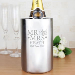 Personalised Mr & Mrs Stainless Steel Wine Cooler From Something Personal