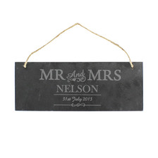 Personalised Mr & Mrs Slate Door Sign From Something Personal