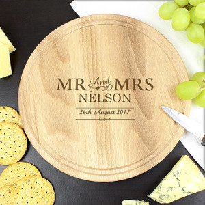 Personalised Mr & Mrs Round Chopping Board From Something Personal