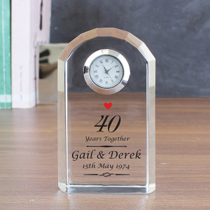 Personalised Ruby Anniversary Crystal Clock From Something Personal
