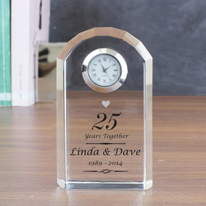 Personalised Silver Anniversary Crystal Clock From Something Personal