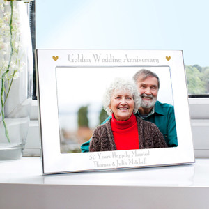 Personalised Golden Anniversary Landscape Photo Frame From Something Personal