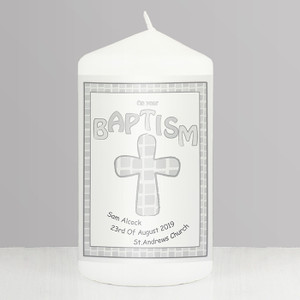 Personalised Grey Baptism Candle From Something Personal