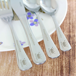 Personalised 4 Piece Princess Crown Cutlery From Something Personal