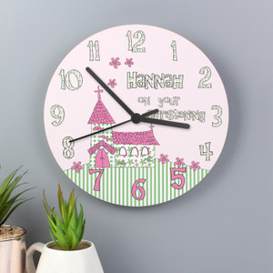 Personalised Whimsical Church Christening Clock From Something Personal