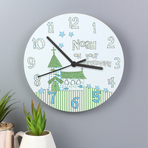 Personalised Church Boys Christening Clock From Something Personal