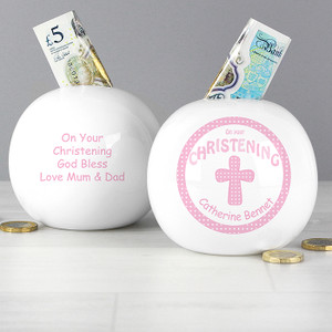 Personalised Cross Pink Christening Money Box From Something Personal