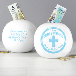Personalised Cross Blue Christening Money Box From Something Personal