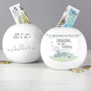 Personalised Whimsical Train Money Box From Something Personal