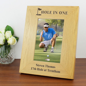 Personalised Oak Finish Golf Frame From Something Personal