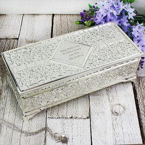 Personalised Antique Silver Plated Jewellery Box From Something Personal