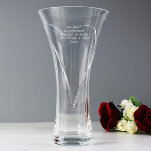 Personalised Hand Cut Diamante Heart Vase With Swarovski Elements From Something Personal