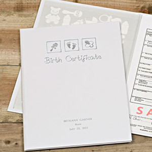 Personalised Birth Certificate Presentation Folder From Something Personal