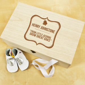 Personalised Baby Acorn Sentiment Keepsake Box From Something Personal