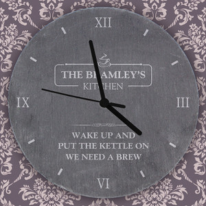 Personalised Kitchen Slate Clock From Something Personal