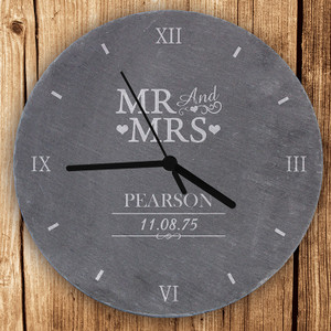 Personalised Mr & Mrs Slate Clock From Something Personal