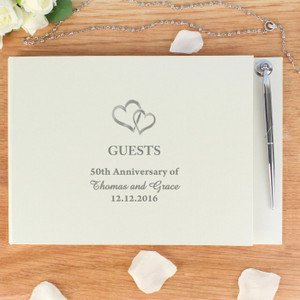 Personalised Hardback Guest Book Hearts Design From Something Personal