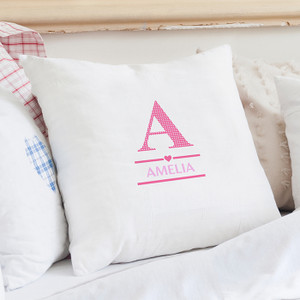 Personalised Girls Initial Cushion Cover From Something Personal