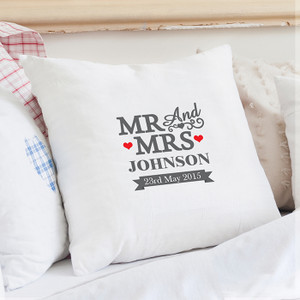 Personalised Mr & Mrs Cushion Cover From Something Personal