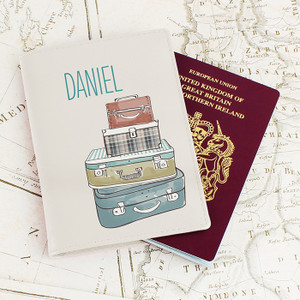 Personalised Suitcases Cream Passport Holder From Something Personal