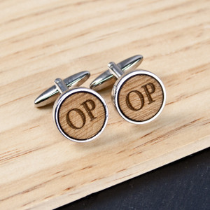 Personalised Circle Wooden Cufflinks From Something Personal