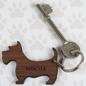 Personalised Walnut Wood Dog Shaped Keyring From Something Personal