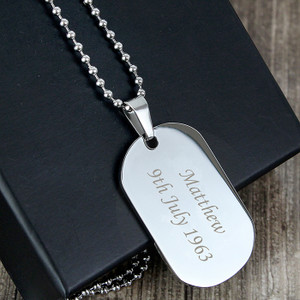 Personalised Stainless Steel Dog Tag Necklace From Something Personal