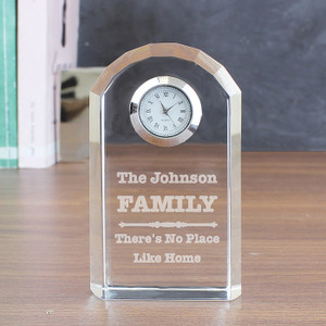 Personalised Scroll Design Crystal Clock From Something Personal