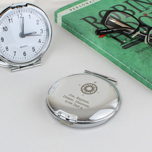 Personalised Compass Round Travel Clock From Something Personal