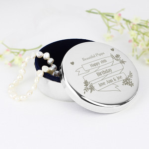 Personalised Garden Bloom Round Trinket Box From Something Personal