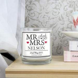 Personalised Mr & Mrs Scented Jar Candle From Something Personal