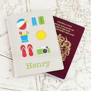 Personalised Bright Travel Cream Passport Holder From Something Personal