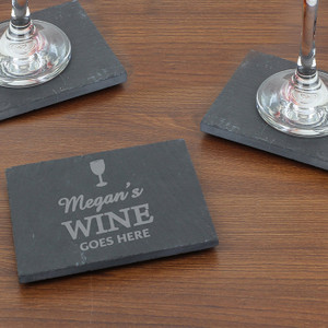 Personalised Wine Goes Here... Single Slate Coaster From Something Personal