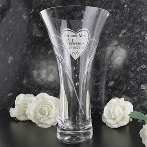 Personalised Big Heart Diamante Vase With Swarovski Elements From Something Personal