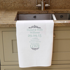 Personalised Wedding Typography Tea Towel From Something Personal