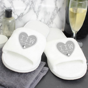 Personalised Grey Heart Velour Slippers From Something Personal