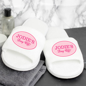 Personalised Pink Oval Velour Slippers From Something Personal