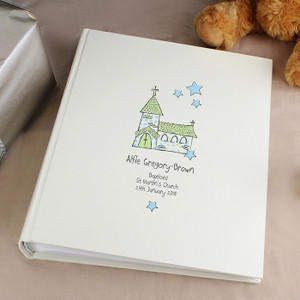 Personalised Whimsical Blue Church Album With Sleeves From Something Personal